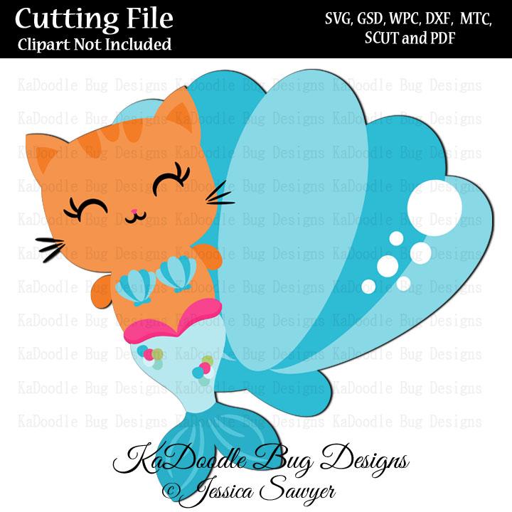JS Mermaid Kitty SVG CUT FILE PAPER PEICING CLIPART DIGITAL