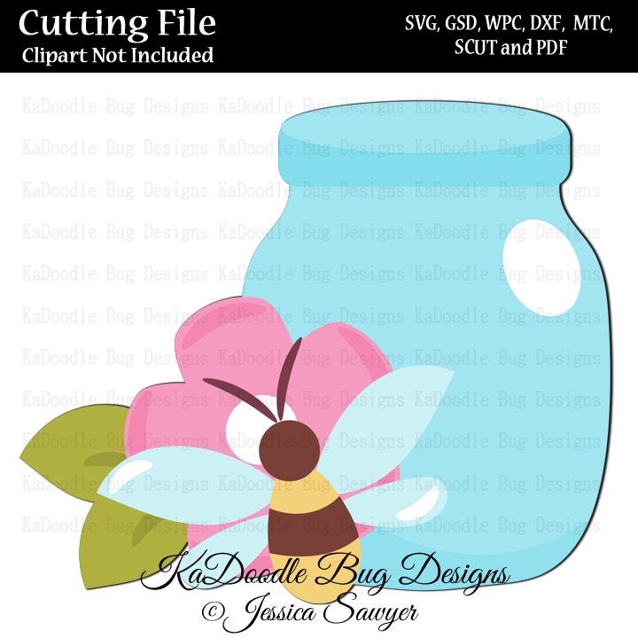JS Pretty Bee Jar SVG CUT FILE PAPER PEICING CLIPART DIGITAL STAMPS
