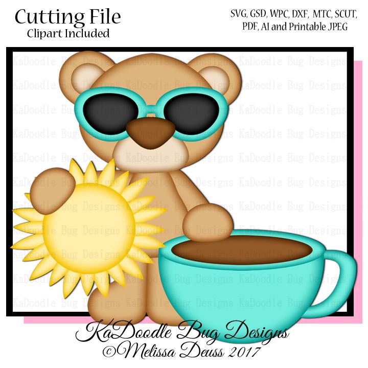 coffee and sunshine bear svg cut file paperpiecing scrapbooking rh kadoodlebugdesigns com