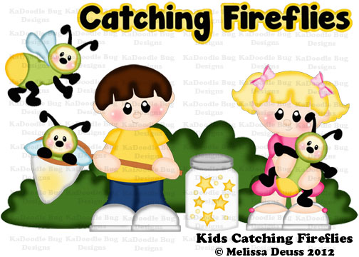Kids Catching Fireflies 075 Kadoodle Bug Designs Cut Files