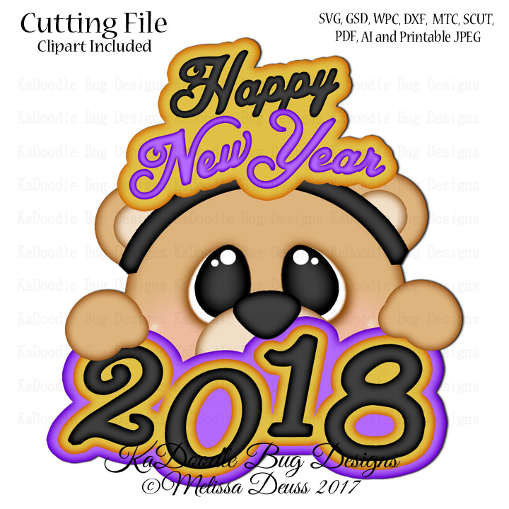 new year bear peeker svg cut file paperpiecing scrapbooking digital stamps clipart papercraft cards 100 kadoodle bug designs cut files