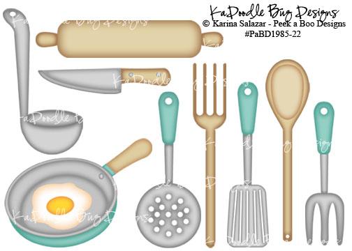 Kitchen Utensils Kadoodle Bug Designs Cut Files