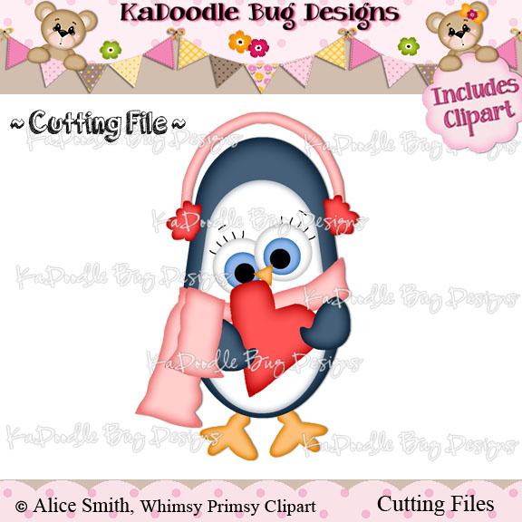 Winter Valentine Penguin []   $0.50 : Kadoodle Bug Designs, Cut Files, Digi  Stamps, Clip Art
