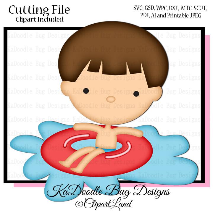 Boy In Pool Tube SVG cutting files pool svg cut files swimming svg files  summer svg cut files for cricut