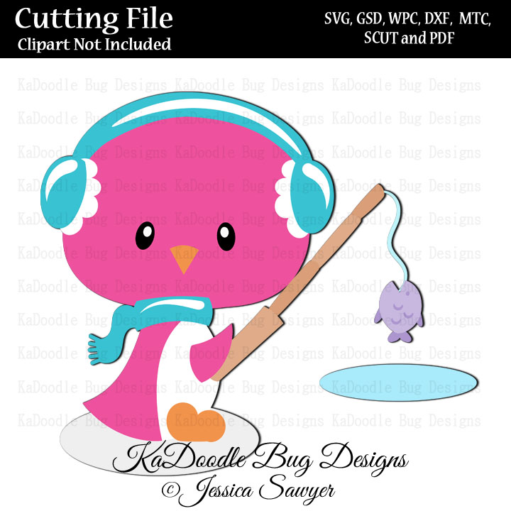 Download Js Ice Fishing Penguin Svg Cut File Paper Peicing Clipart Digital Stamps Scrapbooking Cards 1 00 Welcome To Kadoodle Bug Designs Svg Cut Files More