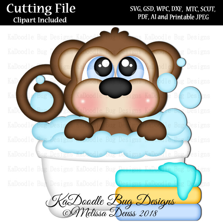 Cutie Katoodles Bathtime Monkey Svg Cut File Paper Peicing Clipart Digital Stamps Scrapbooking Cards 1 00 Welcome To Kadoodle Bug Designs Svg Cut Files More