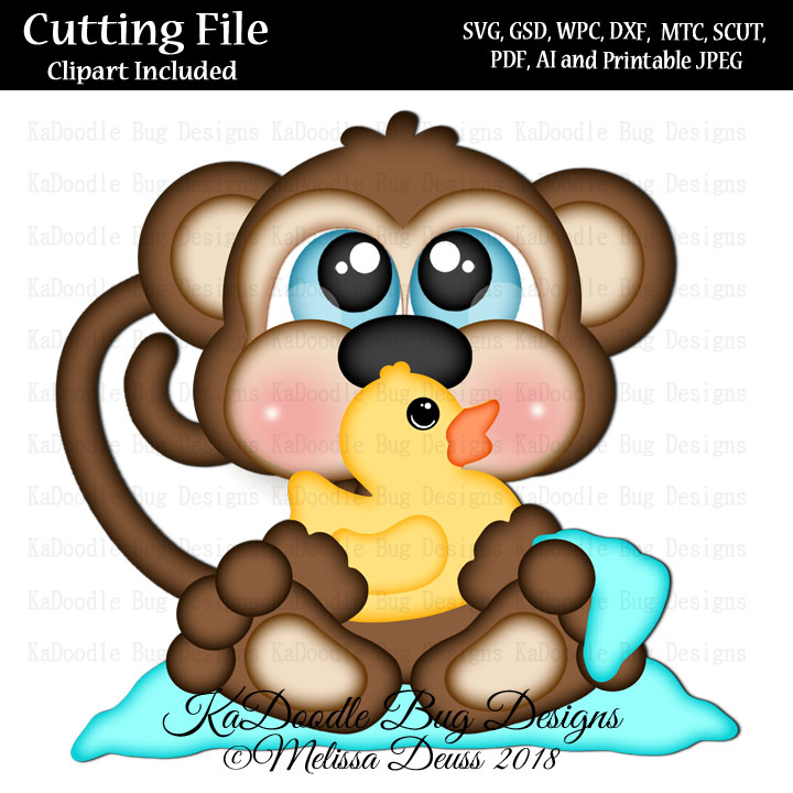 Cutie KaToodles - Sitting Bathtime Monkey - Click Image to Close