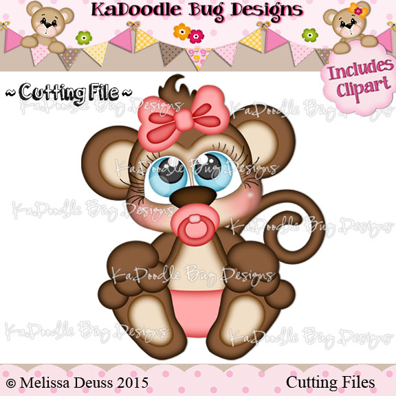 Cutie KaToodles - Baby Girl Monkey - Click Image to Close